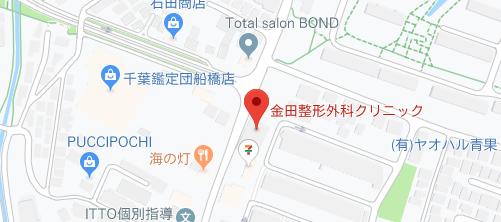金田整形外科クリニック 美容皮フ科地図