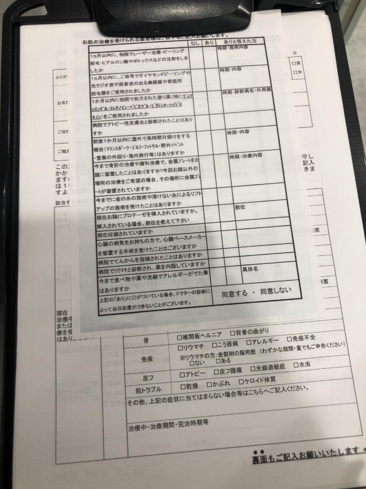 品川美容外科カウンセリングの問診票