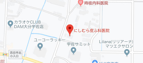 にしむら皮ふ科医院 宇佐本院地図