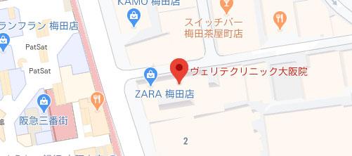 ヴェリテクリニック 大阪院地図