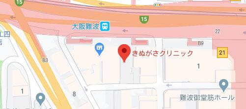 きぬがさクリニック 大阪院地図