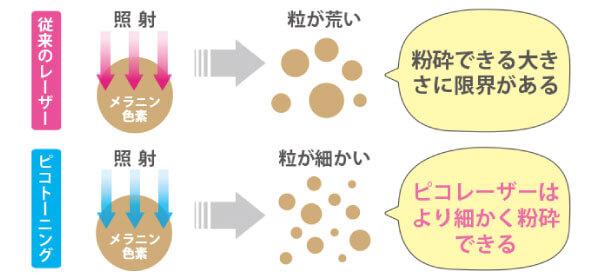 メラニン色素粉砕のイメージ比較画像